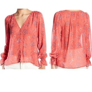 JOIE Bolona B Strawberry Silk Floral Printed Top